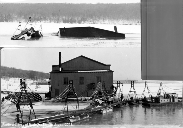 Dredge submerged in Torch Lake