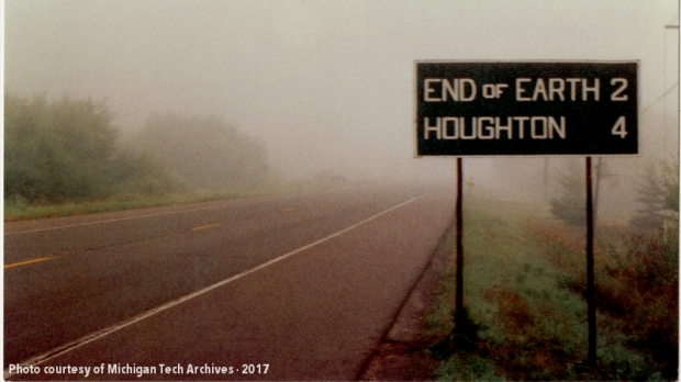 End of Earth Road Sign | Copper Country Historical Images