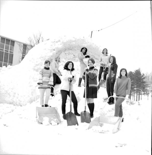The 1968 candidates pose outside in the snow.