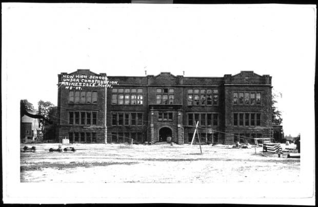 Image of Painesdale High School under construction