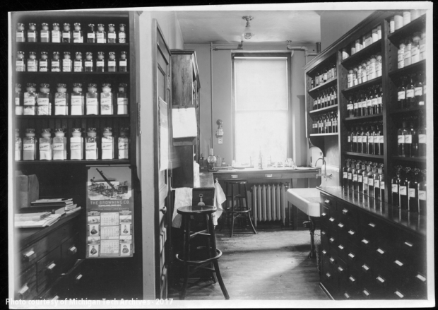 Room filled with shelves and bottles