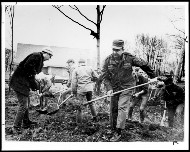 Group at work on clearing land
