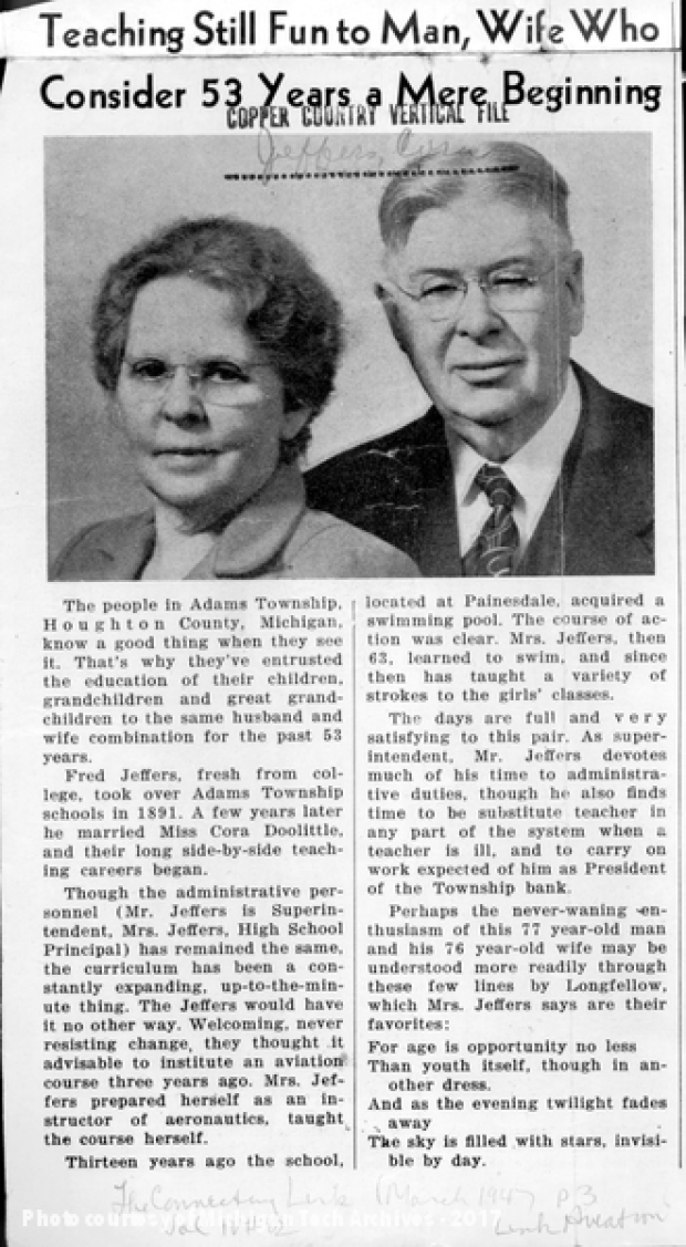 Image of newspaper article featuring Fred and Cora Jeffers